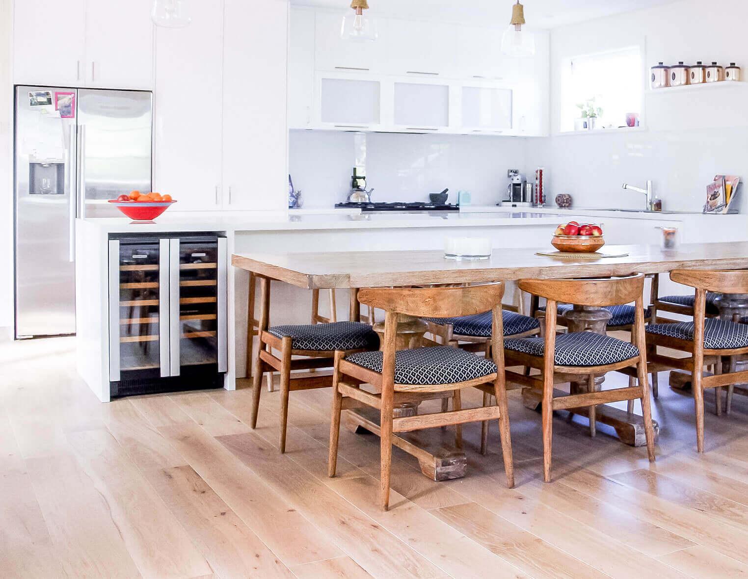 kitchen with blonde oak timber flooring